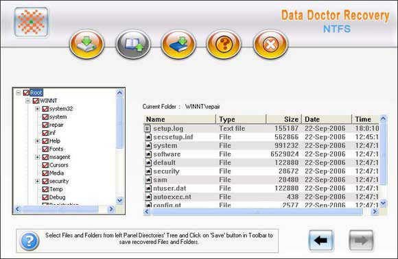 NTFS Formatted Partition Data Recovery screen shot