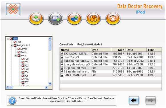 iPod Undelete Software screen shot
