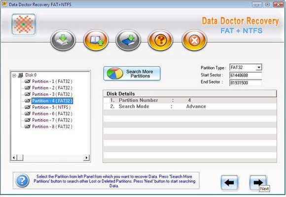 Windows FAT NTFS data recovery tool recovers lost audio video music files, folder, application programs and office documents from windows partitions desktop computer. Retrieval utility retrieves deleted record from laptop even disk is virus affected.