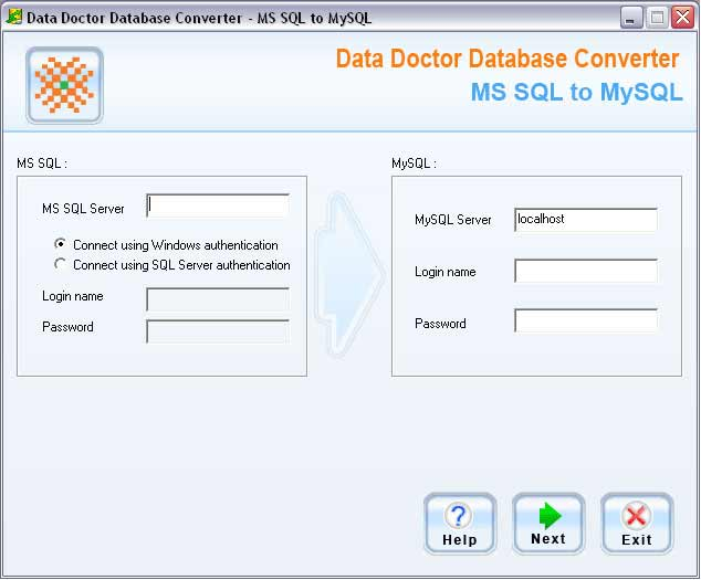 MSSQL to MySQL database conversion product changes table structure and its attributes into MySQL database record format with supporting Unicode architecture. Freeware converter exports data field values includes keys, indexes and null values