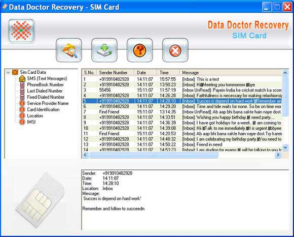 SIM Card Text Messages Recovery Tool screen shot