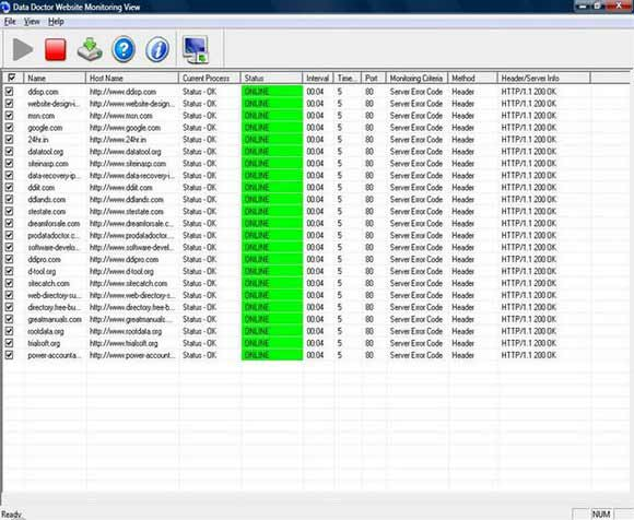 Website monitoring tool track HTTP FTP SMTP based multiple website performance great Screen Shot