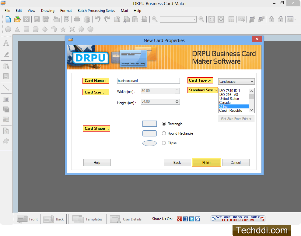 Business cards maker software screenshots for generating business cards fill card properties colourmoves