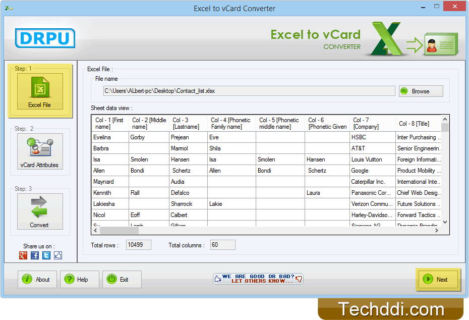 Excel to vCard Converter converts contacts from excel to vCard