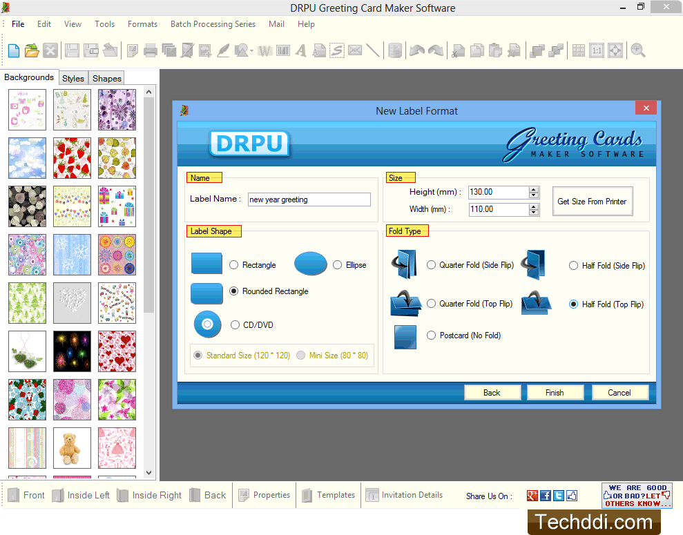 Screenshots of greeting cards maker software to generate list of fill label properties m4hsunfo