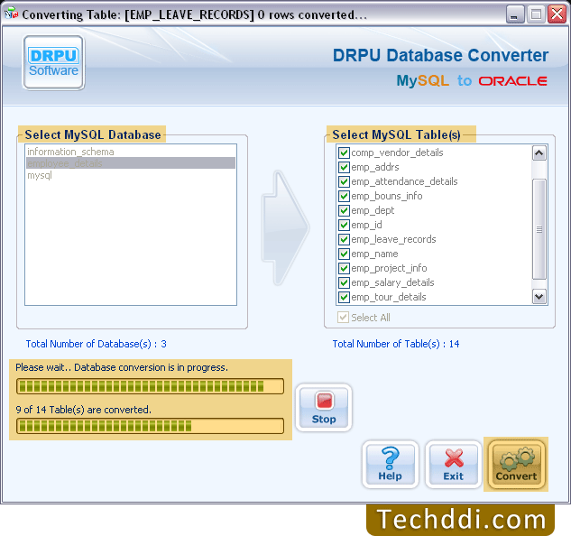 Convert MySQL database to Oracle database